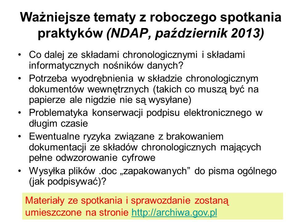 Ważniejsze tematy z roboczego spotkania praktyków (NDAP, październik 2013) Co dalej ze składami chronologicznymi i składami informatycznych nośników d