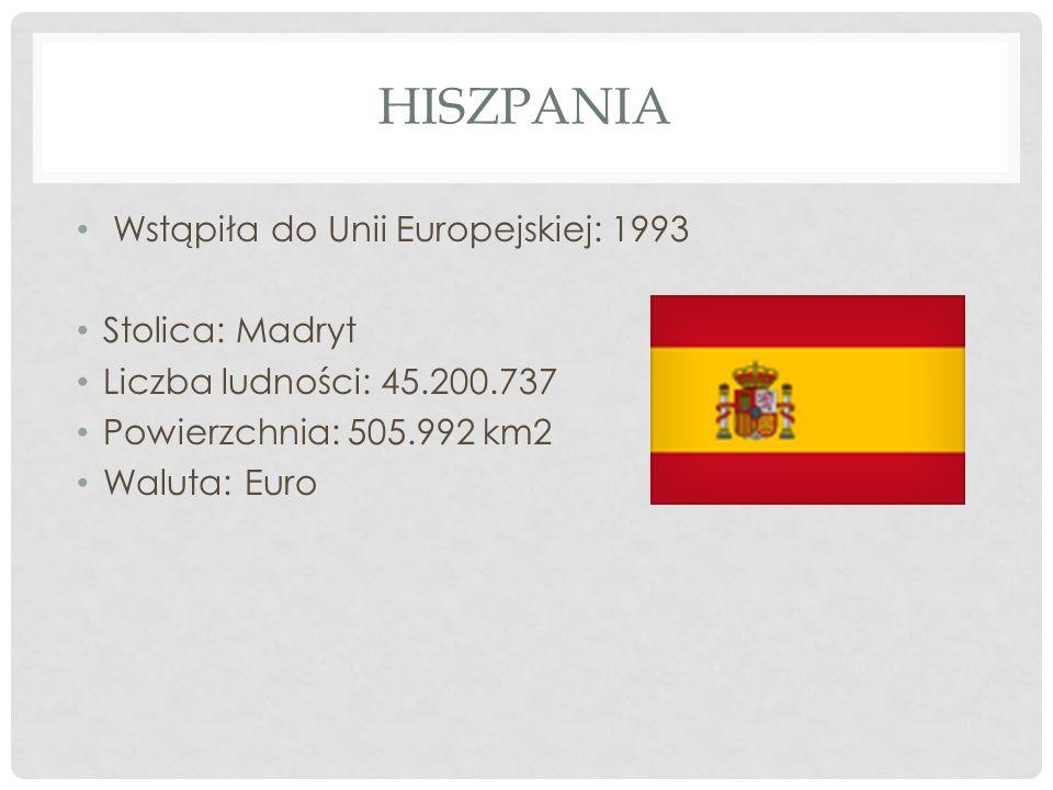 HISZPANIA Wstąpiła do Unii Europejskiej: 1993 Stolica: Madryt Liczba ludności: 45.200.737 Powierzchnia: 505.992 km2 Waluta: Euro