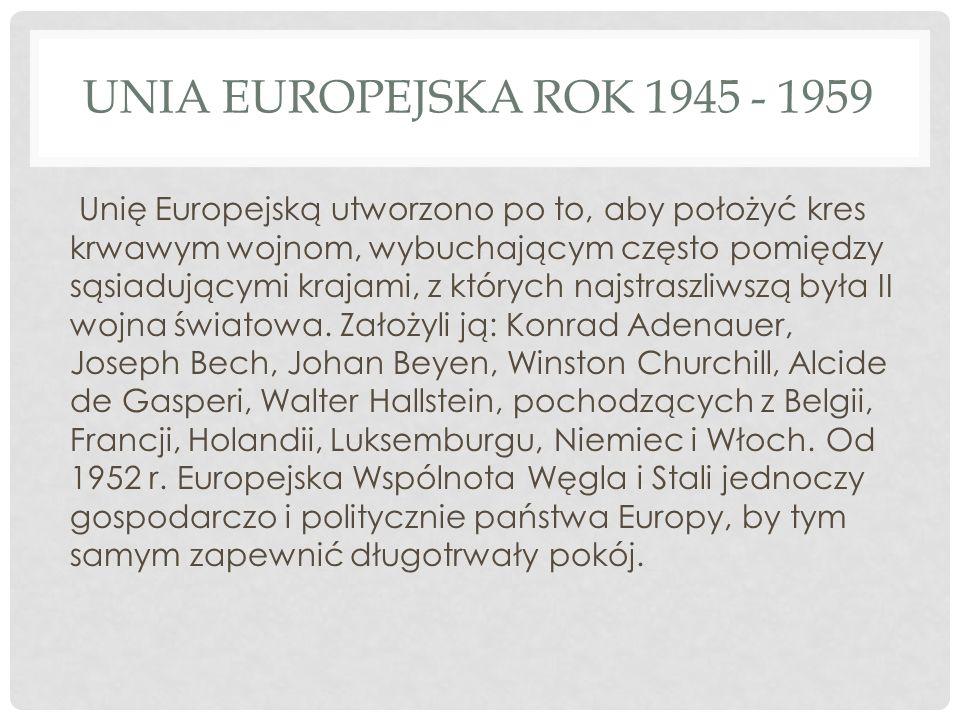 UNIA EUROPEJSKA ROK 1945 - 1959 Unię Europejską utworzono po to, aby położyć kres krwawym wojnom, wybuchającym często pomiędzy sąsiadującymi krajami,