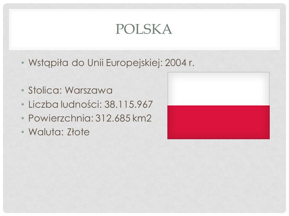 POLSKA Wstąpiła do Unii Europejskiej: 2004 r. Stolica: Warszawa Liczba ludności: 38.115.967 Powierzchnia: 312.685 km2 Waluta: Złote