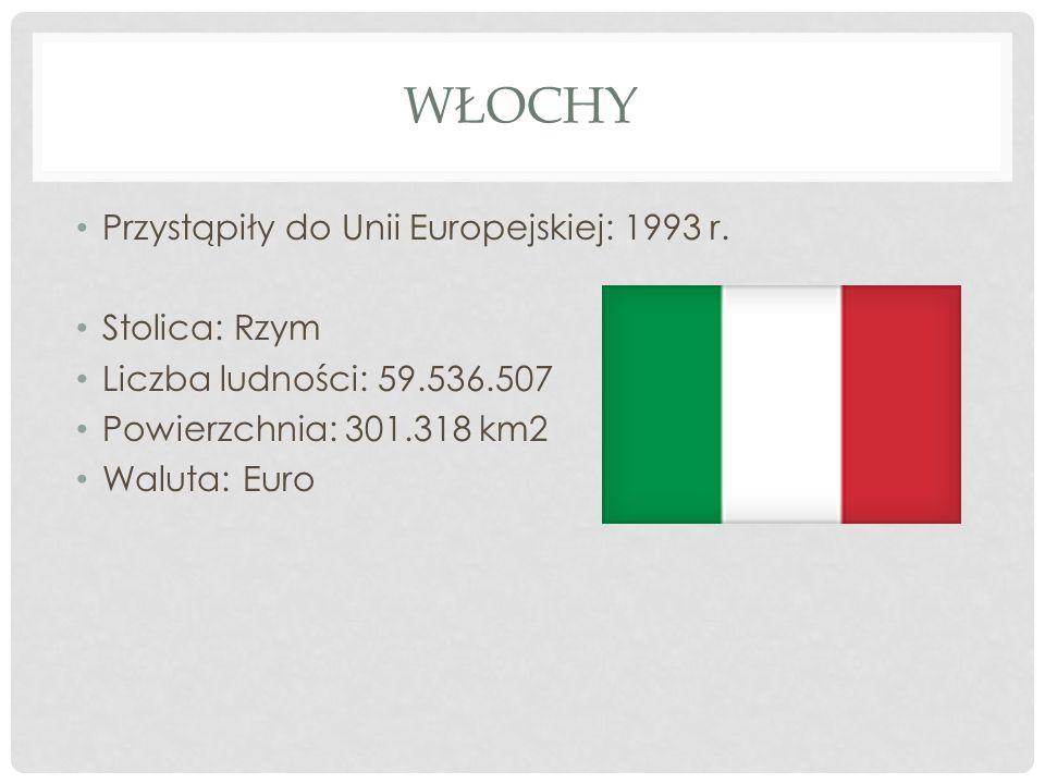 WŁOCHY Przystąpiły do Unii Europejskiej: 1993 r. Stolica: Rzym Liczba ludności: 59.536.507 Powierzchnia: 301.318 km2 Waluta: Euro