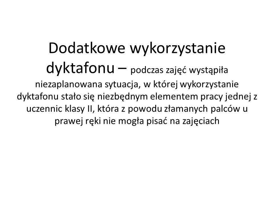Dodatkowe wykorzystanie dyktafonu – podczas zajęć wystąpiła niezaplanowana sytuacja, w której wykorzystanie dyktafonu stało się niezbędnym elementem p