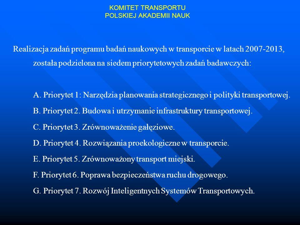 Realizacja zadań programu badań naukowych w transporcie w latach 2007-2013, została podzielona na siedem priorytetowych zadań badawczych: A. Priorytet