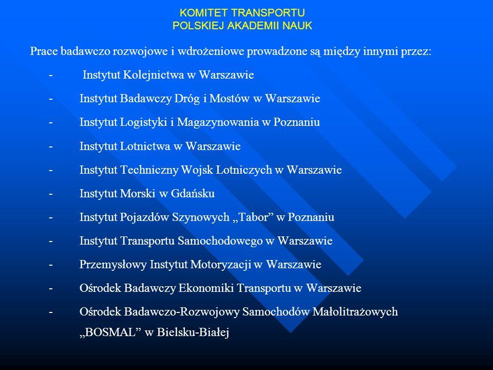 Prace badawczo rozwojowe i wdrożeniowe prowadzone są między innymi przez: - Instytut Kolejnictwa w Warszawie - Instytut Badawczy Dróg i Mostów w Warsz