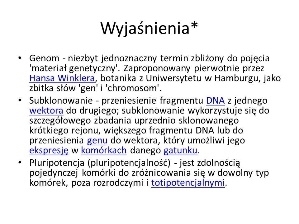 Wyjaśnienia* Genom - niezbyt jednoznaczny termin zbliżony do pojęcia 'materiał genetyczny'. Zaproponowany pierwotnie przez Hansa Winklera, botanika z