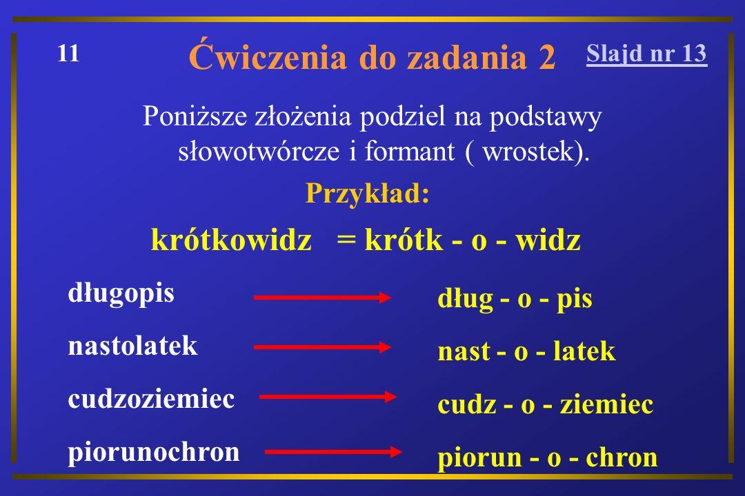 Ćwiczenia do zadania 2 Poniższe złożenia podziel na podstawy słowotwórcze i formant ( wrostek).