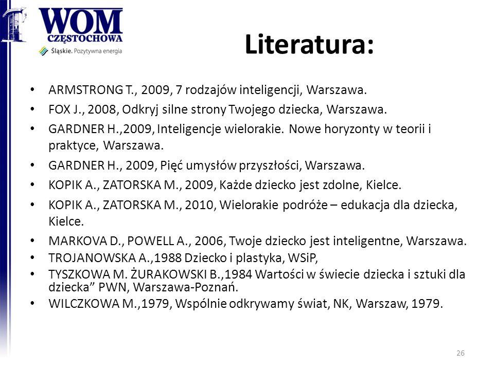 Literatura: ARMSTRONG T., 2009, 7 rodzajów inteligencji, Warszawa. FOX J., 2008, Odkryj silne strony Twojego dziecka, Warszawa. GARDNER H.,2009, Intel