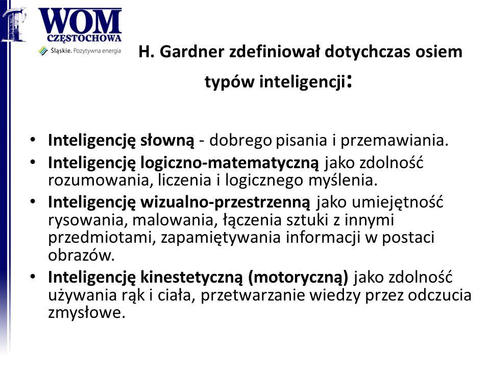 H. Gardner zdefiniował dotychczas osiem typów inteligencji : Inteligencję słowną - dobrego pisania i przemawiania. Inteligencję logiczno-matematyczną