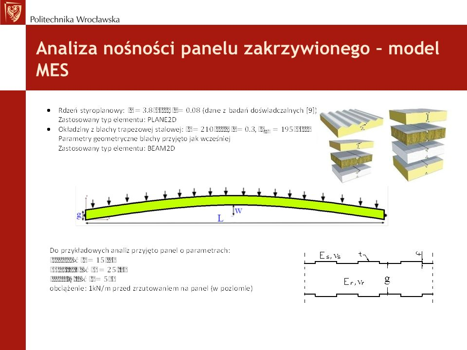 Analiza nośności panelu zakrzywionego – model MES : g
