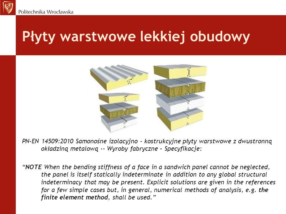 Płyty warstwowe lekkiej obudowy PN-EN 14509:2010 Samonośne izolacyjno - kostrukcyjne płyty warstwowe z dwustronną okładziną metalową -- Wyroby fabrycz