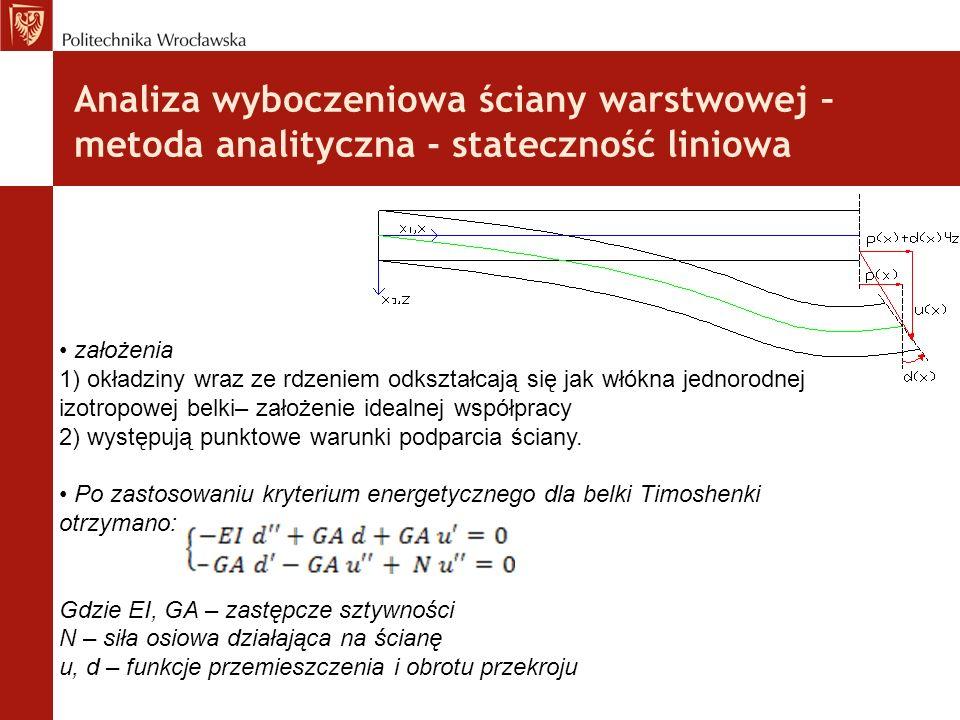 Analiza wyboczeniowa ściany warstwowej – metoda analityczna - stateczność liniowa założenia 1) okładziny wraz ze rdzeniem odkształcają się jak włókna