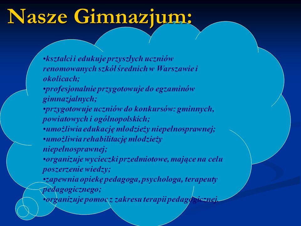 kształci i edukuje przyszłych uczniów renomowanych szkół średnich w Warszawie i okolicach; profesjonalnie przygotowuje do egzaminów gimnazjalnych; przygotowuje uczniów do konkursów: gminnych, powiatowych i ogólnopolskich; umożliwia edukację młodzieży niepełnosprawnej; umożliwia rehabilitację młodzieży niepełnosprawnej; organizuje wycieczki przedmiotowe, mające na celu poszerzenie wiedzy; zapewnia opiekę pedagoga, psychologa, terapeuty pedagogicznego; organizuje pomoc z zakresu terapii pedagogicznej.