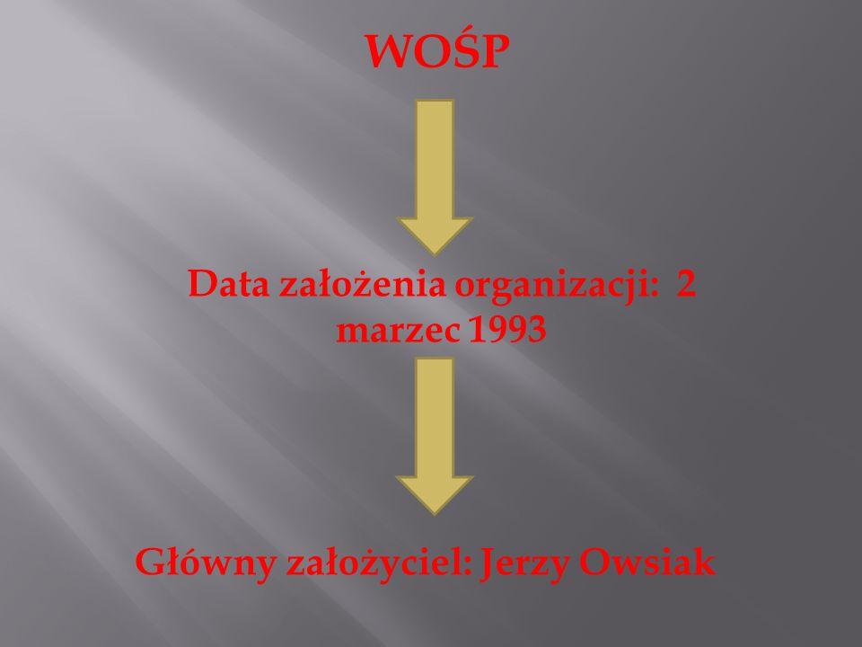 WOŚP Data założenia organizacji: 2 marzec 1993 Główny założyciel: Jerzy Owsiak