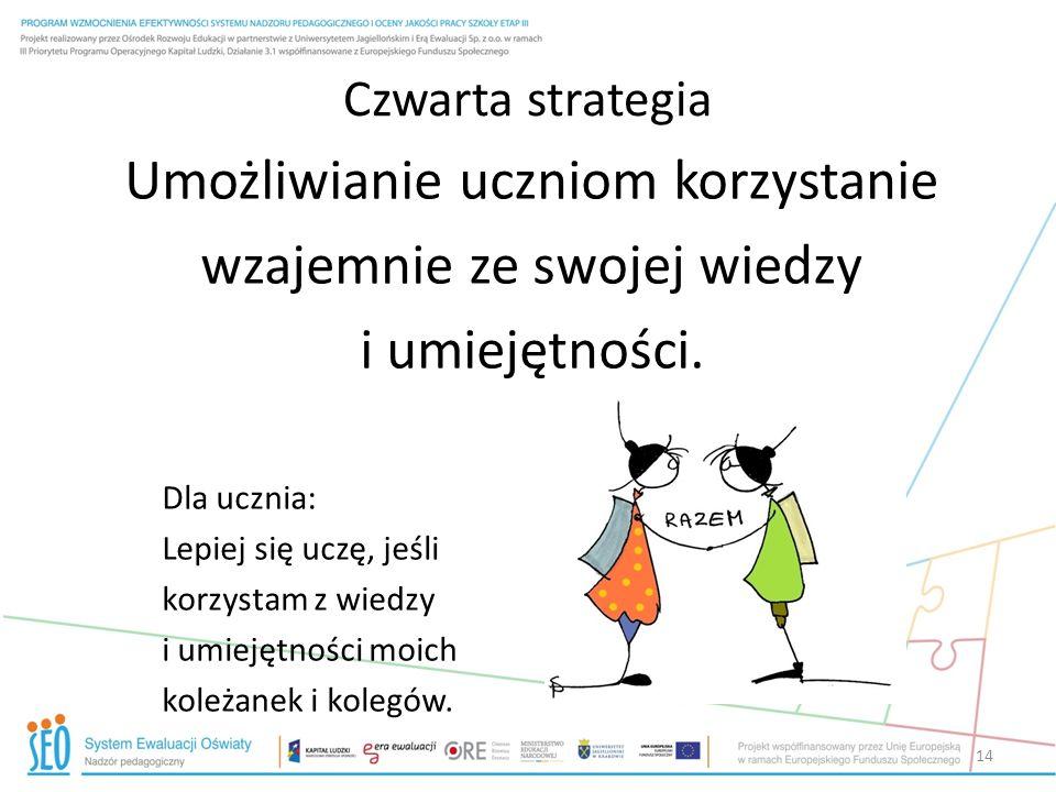 Czwarta strategia Umożliwianie uczniom korzystanie wzajemnie ze swojej wiedzy i umiejętności. Dla ucznia: Lepiej się uczę, jeśli korzystam z wiedzy i