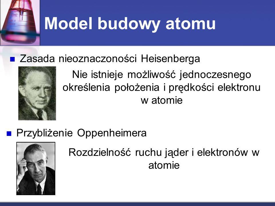 Model budowy atomu Zasada nieoznaczoności Heisenberga Nie istnieje możliwość jednoczesnego określenia położenia i prędkości elektronu w atomie Przybli