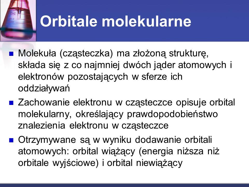Orbitale molekularne Molekuła (cząsteczka) ma złożoną strukturę, składa się z co najmniej dwóch jąder atomowych i elektronów pozostających w sferze ic