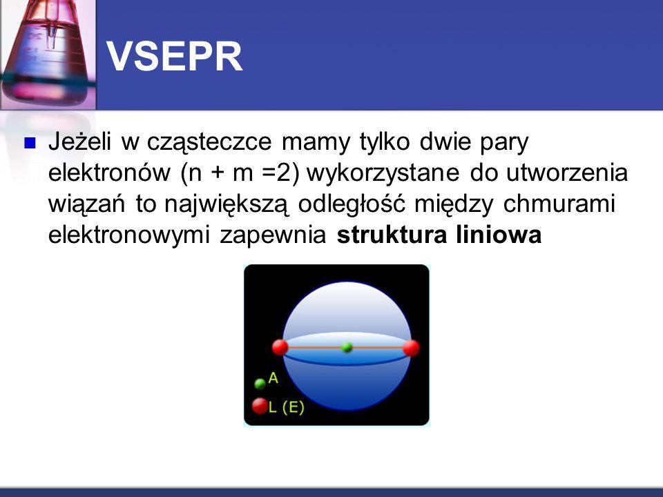 VSEPR Jeżeli w cząsteczce mamy tylko dwie pary elektronów (n + m =2) wykorzystane do utworzenia wiązań to największą odległość między chmurami elektro