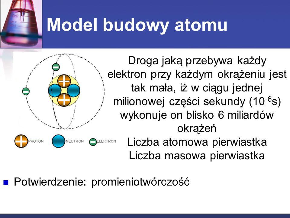 Model budowy atomu Droga jaką przebywa każdy elektron przy każdym okrążeniu jest tak mała, iż w ciągu jednej milionowej części sekundy (10 -6 s) wykon