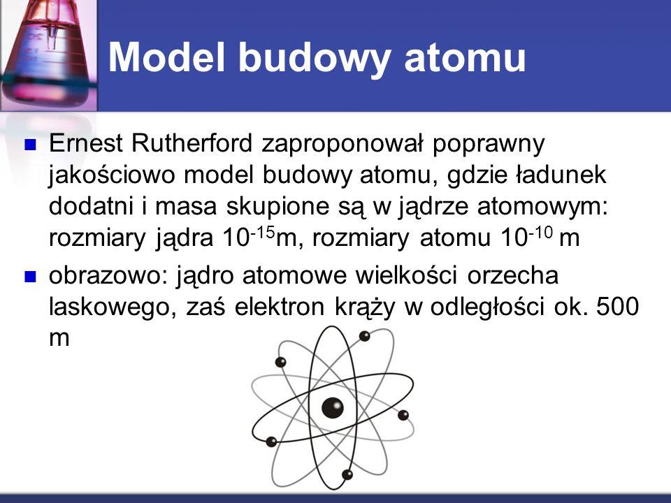 Model budowy atomu Ernest Rutherford zaproponował poprawny jakościowo model budowy atomu, gdzie ładunek dodatni i masa skupione są w jądrze atomowym: