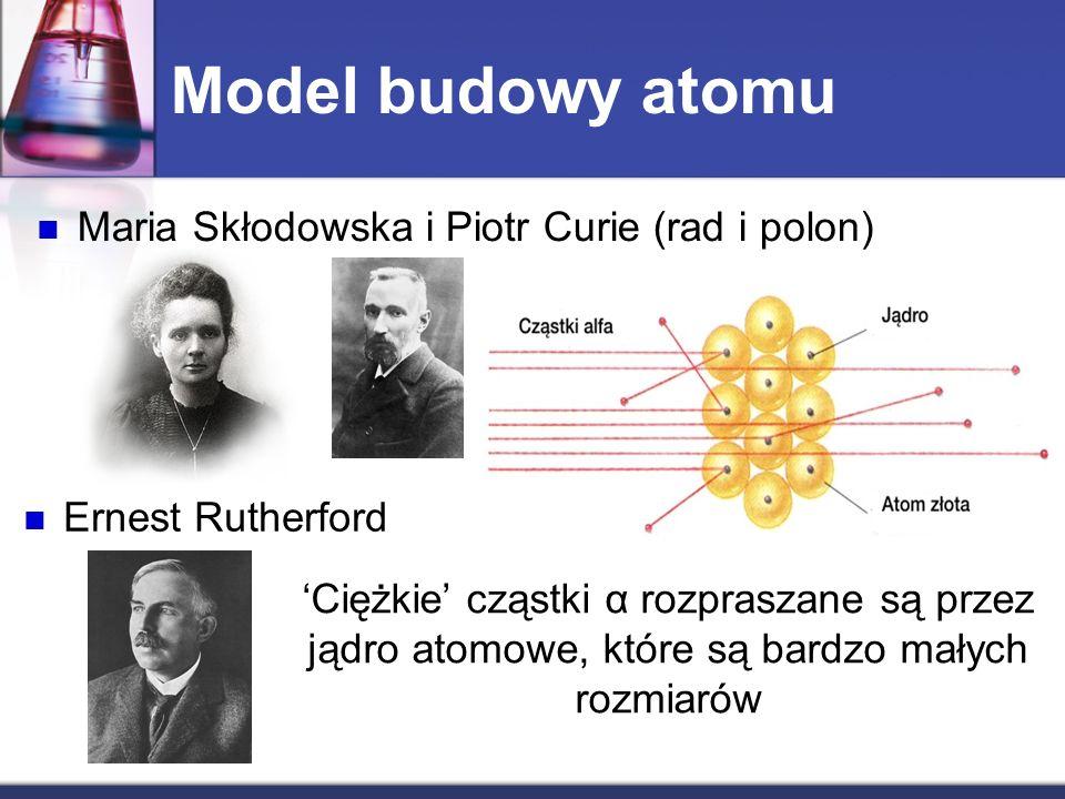 Model budowy atomu Maria Skłodowska i Piotr Curie (rad i polon) Ernest Rutherford Ciężkie cząstki α rozpraszane są przez jądro atomowe, które są bardz