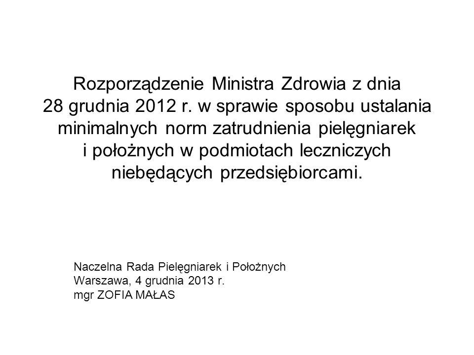 Rozporządzenie Ministra Zdrowia z dnia 28 grudnia 2012 r. w sprawie sposobu ustalania minimalnych norm zatrudnienia pielęgniarek i położnych w podmiot