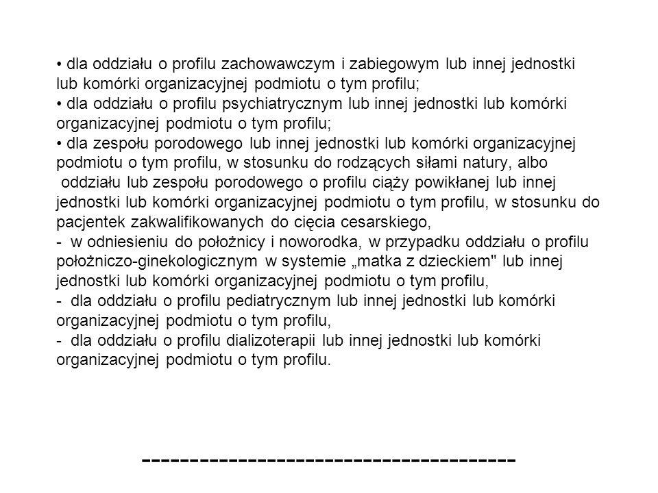 dla oddziału o profilu zachowawczym i zabiegowym lub innej jednostki lub komórki organizacyjnej podmiotu o tym profilu; dla oddziału o profilu psychia