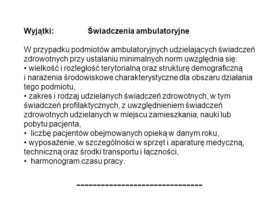Wyjątki: Świadczenia ambulatoryjne W przypadku podmiotów ambulatoryjnych udzielających świadczeń zdrowotnych przy ustalaniu minimalnych norm uwzględni