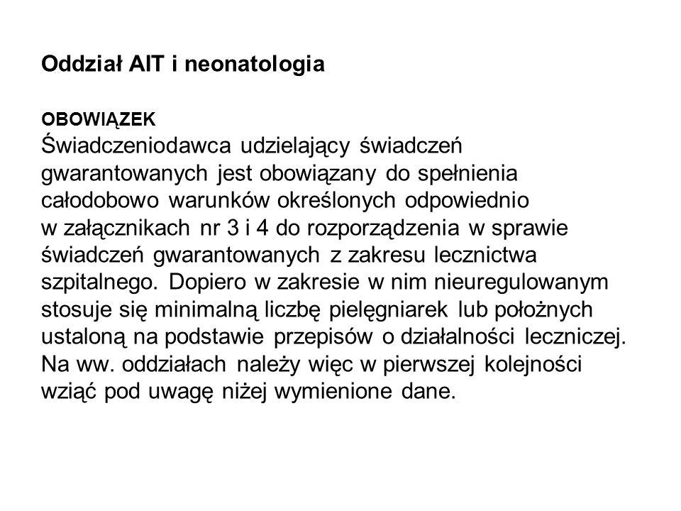 Oddział AIT i neonatologia OBOWIĄZEK Świadczeniodawca udzielający świadczeń gwarantowanych jest obowiązany do spełnienia całodobowo warunków określony