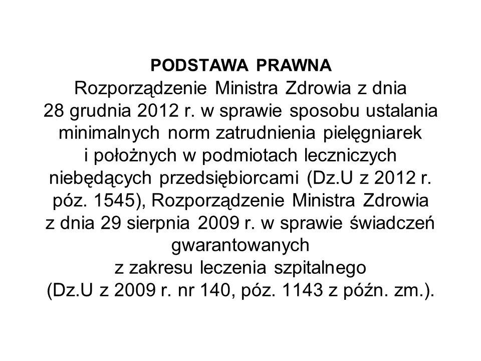 PODSTAWA PRAWNA Rozporządzenie Ministra Zdrowia z dnia 28 grudnia 2012 r. w sprawie sposobu ustalania minimalnych norm zatrudnienia pielęgniarek i poł