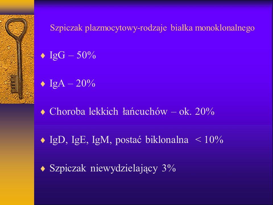 Szpiczak plazmocytowy-rodzaje białka monoklonalnego IgG – 50% IgA – 20% Choroba lekkich łańcuchów – ok. 20% IgD, IgE, IgM, postać biklonalna < 10% Szp