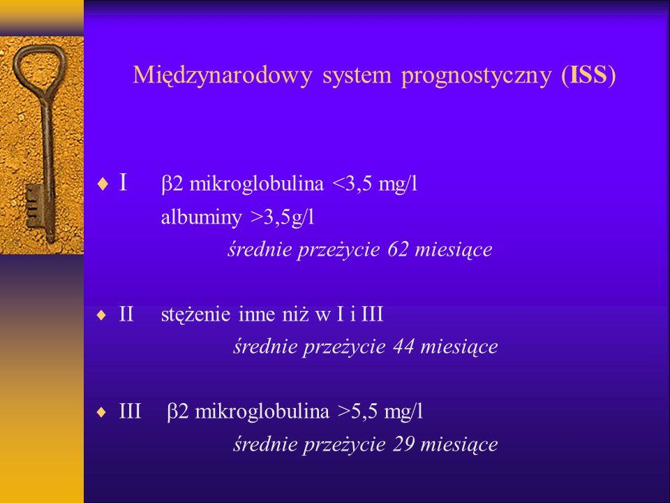 Międzynarodowy system prognostyczny (ISS) I 2 mikroglobulina <3,5 mg/l albuminy >3,5g/l średnie przeżycie 62 miesiące IIstężenie inne niż w I i III średnie przeżycie 44 miesiące III 2 mikroglobulina >5,5 mg/l średnie przeżycie 29 miesiące