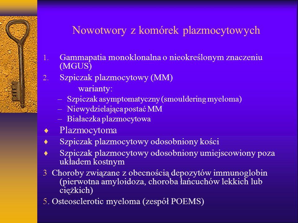 Nowotwory z komórek plazmocytowych 1. Gammapatia monoklonalna o nieokreślonym znaczeniu (MGUS) 2. Szpiczak plazmocytowy (MM) warianty: –Szpiczak asymp
