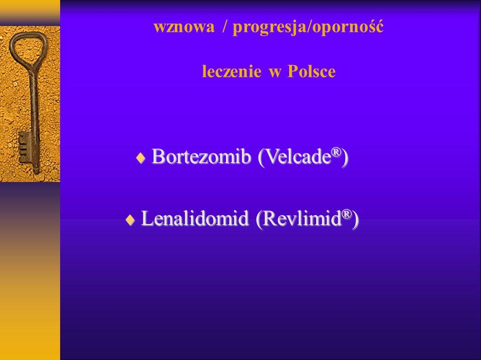 wznowa / progresja/oporność leczenie w Polsce Bortezomib (Velcade ® ) Bortezomib (Velcade ® ) Lenalidomid (Revlimid ® ) Lenalidomid (Revlimid ® )