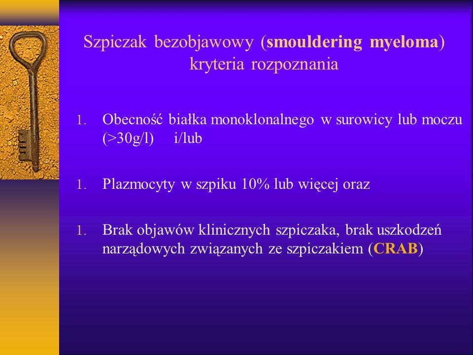 Szpiczak bezobjawowy (smouldering myeloma) kryteria rozpoznania 1. Obecność białka monoklonalnego w surowicy lub moczu (>30g/l) i/lub 1. Plazmocyty w