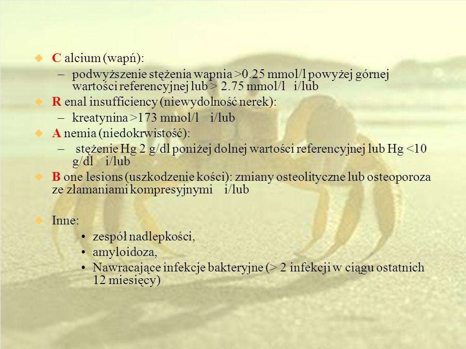 C alcium (wapń): –podwyższenie stężenia wapnia >0.25 mmol/l powyżej górnej wartości referencyjnej lub > 2.75 mmol/l i/lub R enal insufficiency (niewydolność nerek): –kreatynina >173 mmol/l i/lub A nemia (niedokrwistość): – stężenie Hg 2 g/dl poniżej dolnej wartości referencyjnej lub Hg <10 g/dl i/lub B one lesions (uszkodzenie kości): zmiany osteolityczne lub osteoporoza ze złamaniami kompresyjnymi i/lub Inne: zespół nadlepkości, amyloidoza, Nawracające infekcje bakteryjne (> 2 infekcji w ciągu ostatnich 12 miesięcy)