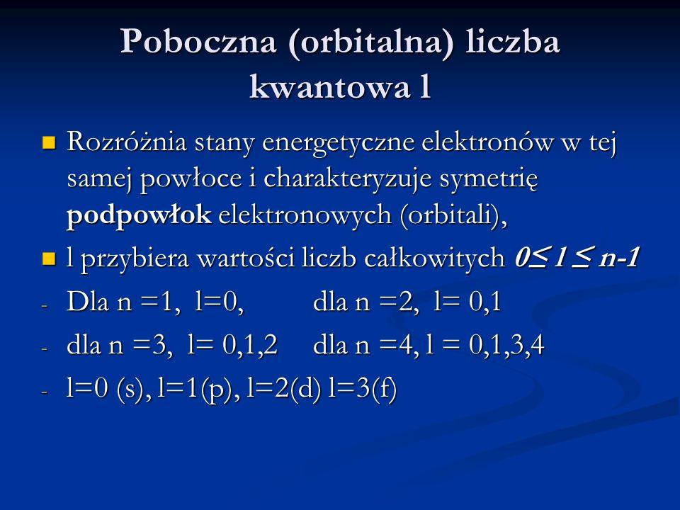 Poboczna (orbitalna) liczba kwantowa l Rozróżnia stany energetyczne elektronów w tej samej powłoce i charakteryzuje symetrię podpowłok elektronowych (orbitali), Rozróżnia stany energetyczne elektronów w tej samej powłoce i charakteryzuje symetrię podpowłok elektronowych (orbitali), l przybiera wartości liczb całkowitych 0 l n-1 l przybiera wartości liczb całkowitych 0 l n-1 - Dla n =1, l=0, dla n =2, l= 0,1 - dla n =3, l= 0,1,2 dla n =4, l = 0,1,3,4 - l=0 (s), l=1(p), l=2(d) l=3(f)
