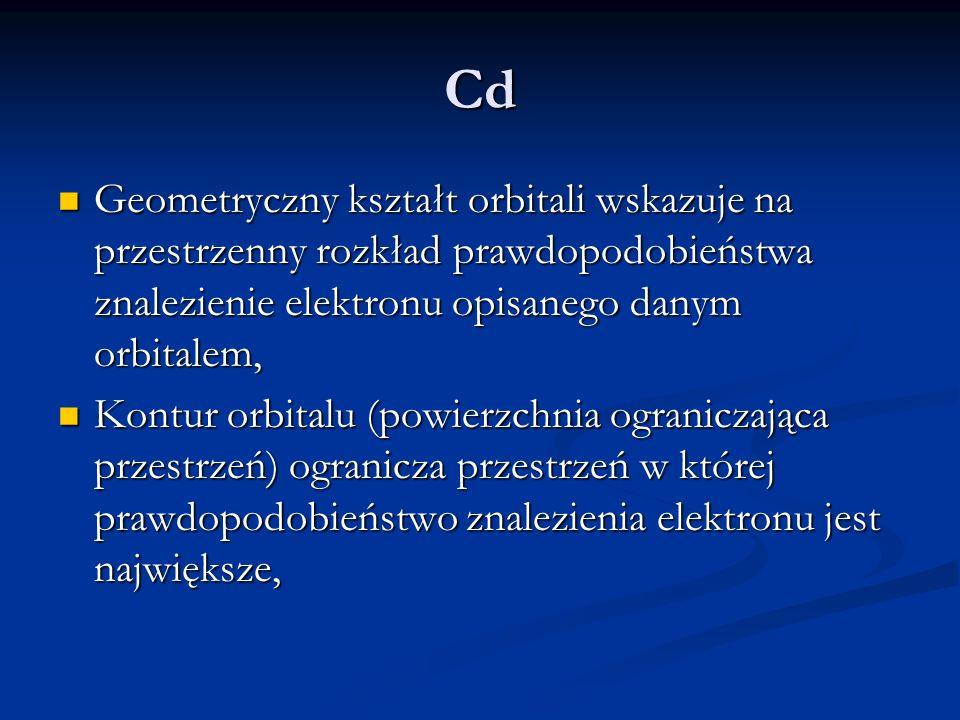 Cd Geometryczny kształt orbitali wskazuje na przestrzenny rozkład prawdopodobieństwa znalezienie elektronu opisanego danym orbitalem, Geometryczny kształt orbitali wskazuje na przestrzenny rozkład prawdopodobieństwa znalezienie elektronu opisanego danym orbitalem, Kontur orbitalu (powierzchnia ograniczająca przestrzeń) ogranicza przestrzeń w której prawdopodobieństwo znalezienia elektronu jest największe, Kontur orbitalu (powierzchnia ograniczająca przestrzeń) ogranicza przestrzeń w której prawdopodobieństwo znalezienia elektronu jest największe,