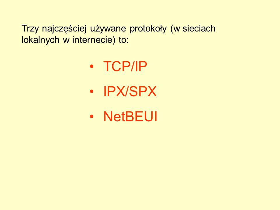 Trzy najczęściej używane protokoły (w sieciach lokalnych w internecie) to: TCP/IP IPX/SPX NetBEUI