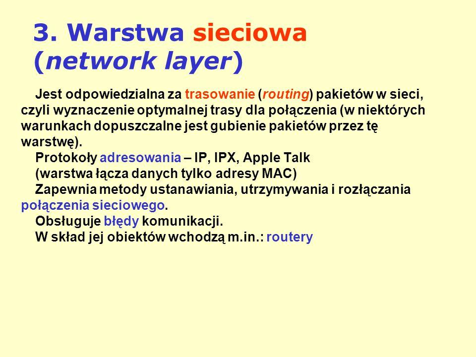 3. Warstwa sieciowa (network layer) Jest odpowiedzialna za trasowanie (routing) pakietów w sieci, czyli wyznaczenie optymalnej trasy dla połączenia (w