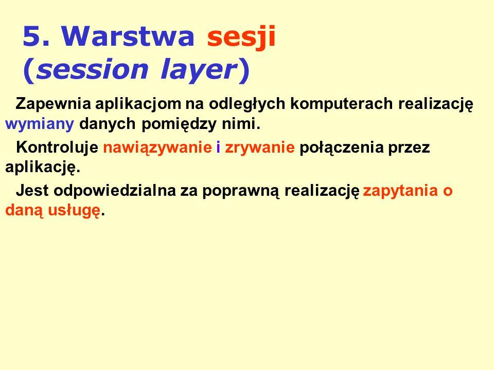 5. Warstwa sesji (session layer) Zapewnia aplikacjom na odległych komputerach realizację wymiany danych pomiędzy nimi. Kontroluje nawiązywanie i zrywa