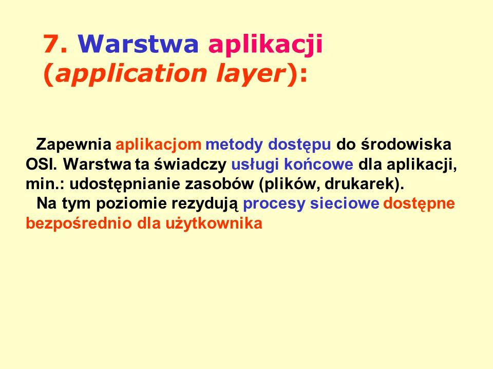7. Warstwa aplikacji (application layer): Zapewnia aplikacjom metody dostępu do środowiska OSI. Warstwa ta świadczy usługi końcowe dla aplikacji, min.