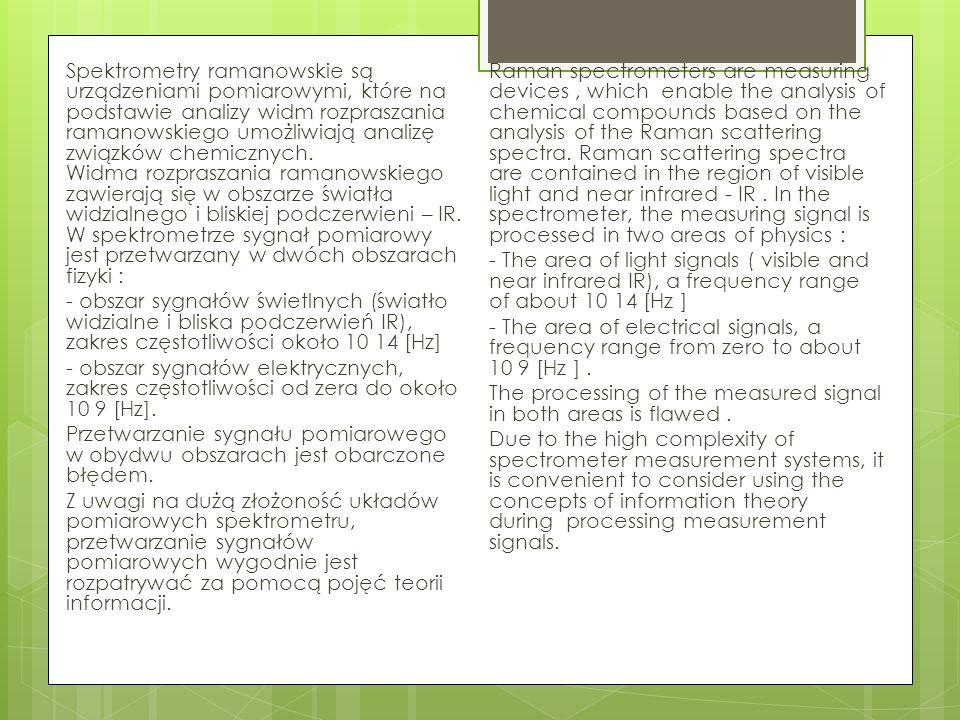 Spektrometry ramanowskie są urządzeniami pomiarowymi, które na podstawie analizy widm rozpraszania ramanowskiego umożliwiają analizę związków chemiczn