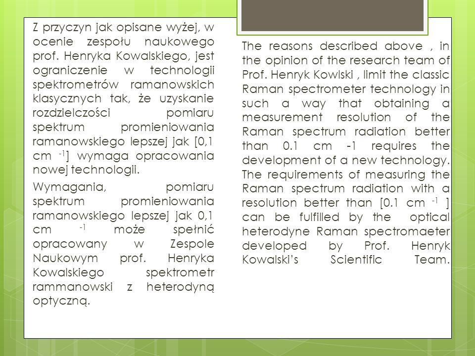 Z przyczyn jak opisane wyżej, w ocenie zespołu naukowego prof. Henryka Kowalskiego, jest ograniczenie w technologii spektrometrów ramanowskich klasycz