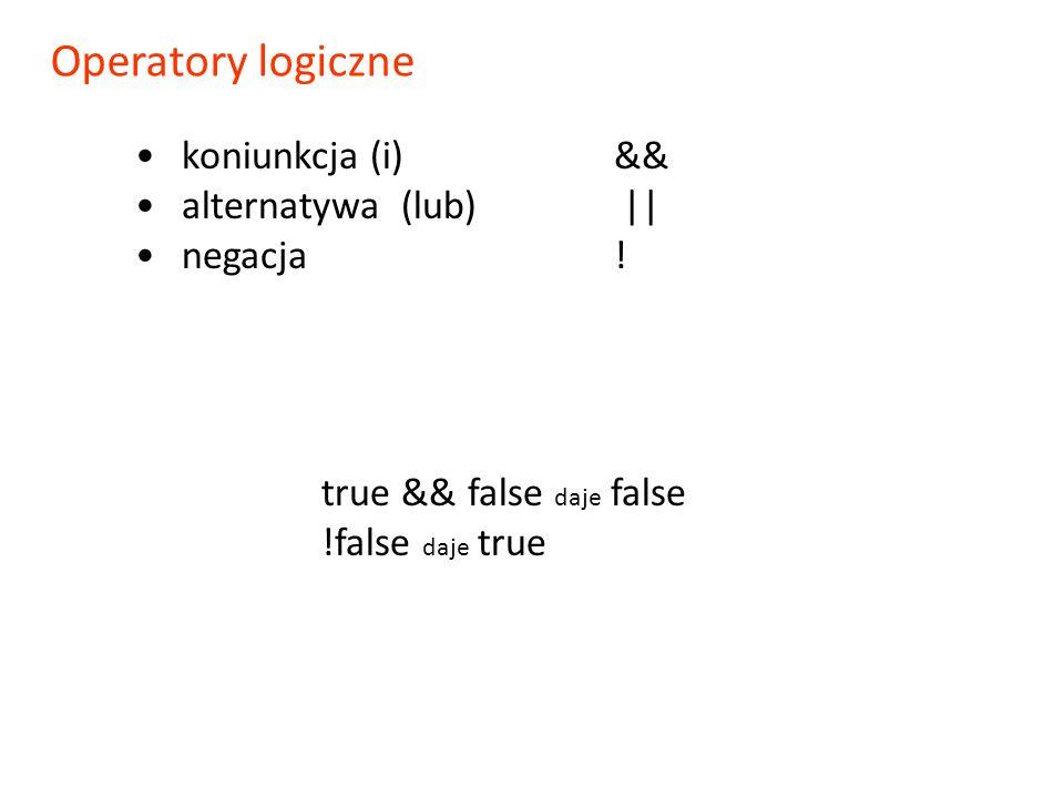 koniunkcja (i)&& alternatywa (lub) || negacja ! true && false daje false !false daje true Operatory logiczne