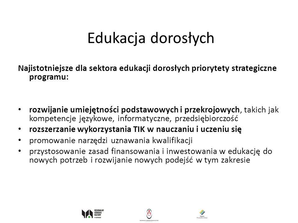 Edukacja dorosłych Najistotniejsze dla sektora edukacji dorosłych priorytety strategiczne programu: rozwijanie umiejętności podstawowych i przekrojowy