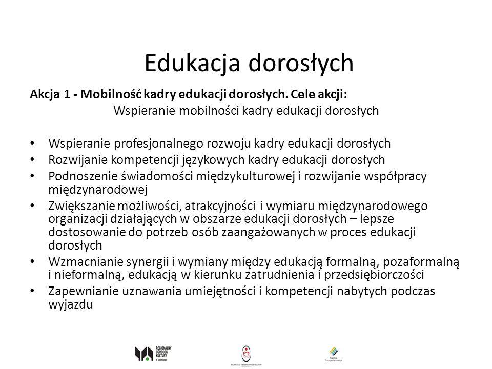 Edukacja dorosłych Akcja 1 - Mobilność kadry edukacji dorosłych. Cele akcji: Wspieranie mobilności kadry edukacji dorosłych Wspieranie profesjonalnego