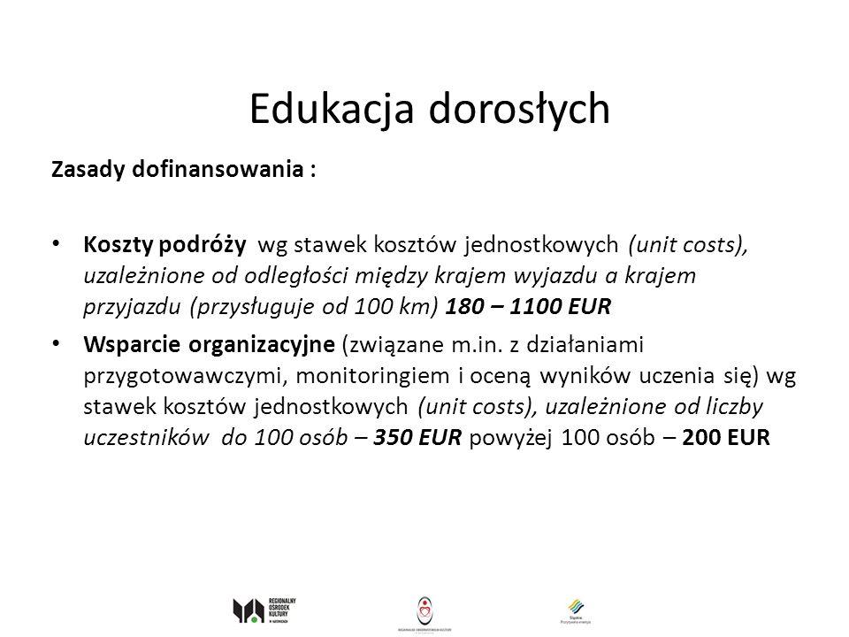 Edukacja dorosłych Zasady dofinansowania : Koszty podróży wg stawek kosztów jednostkowych (unit costs), uzależnione od odległości między krajem wyjazd