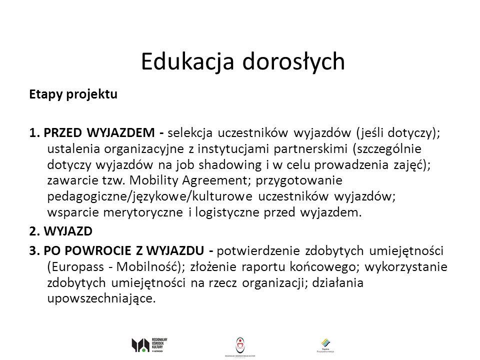 Edukacja dorosłych Etapy projektu 1. PRZED WYJAZDEM - selekcja uczestników wyjazdów (jeśli dotyczy); ustalenia organizacyjne z instytucjami partnerski