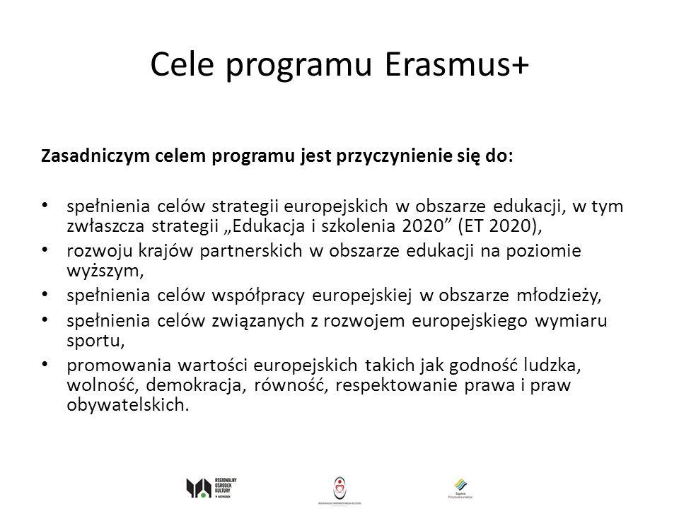 Cele programu Erasmus+ Zasadniczym celem programu jest przyczynienie się do: spełnienia celów strategii europejskich w obszarze edukacji, w tym zwłasz
