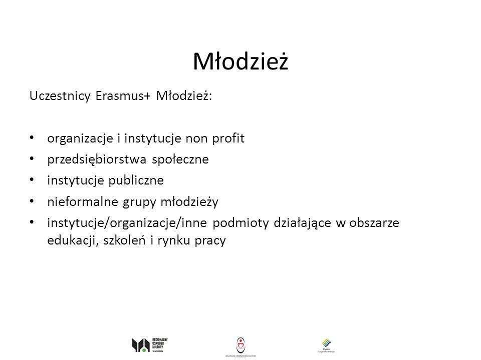 Młodzież Uczestnicy Erasmus+ Młodzież: organizacje i instytucje non profit przedsiębiorstwa społeczne instytucje publiczne nieformalne grupy młodzieży